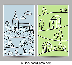 Church and village cards - Illustration of church and...