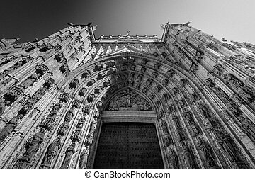church arch in Seville black and white