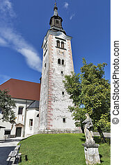 Church Assumption of Mary on lake Bled island