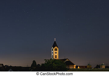 Church at nigth in Frankenthal, blue sky with Stars