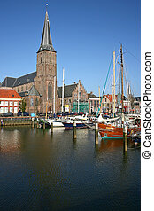 Church at the harbor of Harlingen