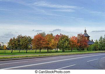 church., autumn., road.