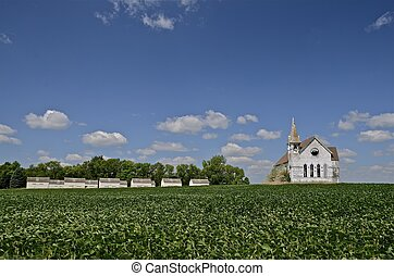 Church, bean field and granaries