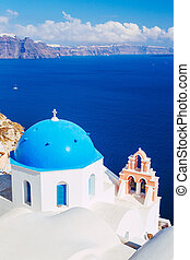 Santorini Island, Greece - Church Bell Tower above Blue Sea,...