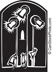 Church Bells - Woodcut style image of Monks Ringing Bells...