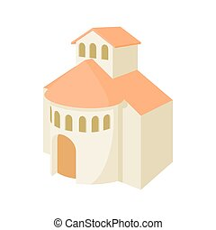 Church building icon, cartoon style