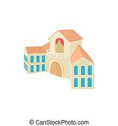 Church building icon, cartoon style