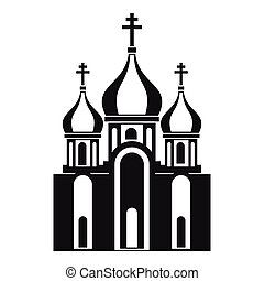 Church building icon in simple style