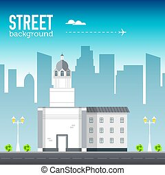church building in city space with road on flat syle background concept. Vector illustration design