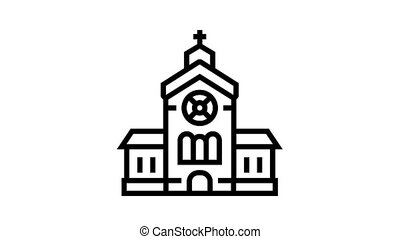 church building animated black icon. church building sign. isolated on white background