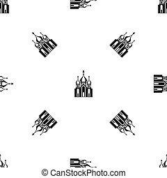 Church building pattern seamless black