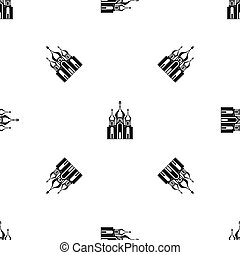 Church building pattern seamless black