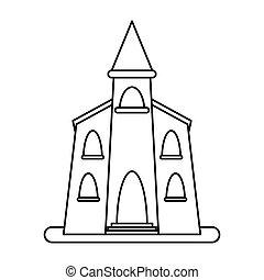 church building religious christian outline