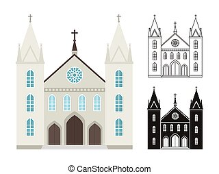 Church buildings isolated on white