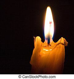 Church candle on a black background.