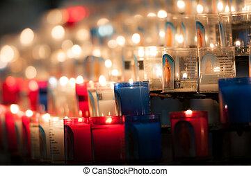church candles in dark