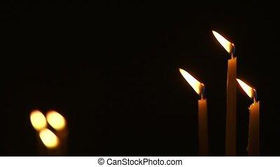 Church Candles On A Dark Background