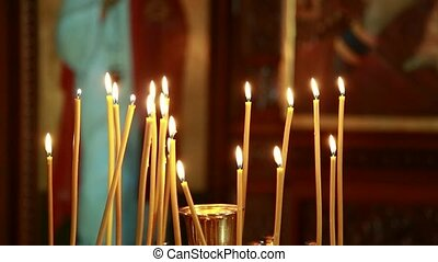 Church candles on the background bokeh