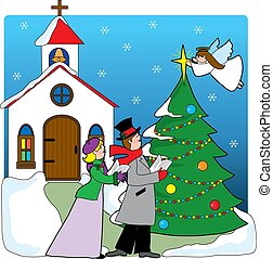 Church Carolers - A pair of carolers singing in front of a...