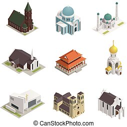 Church Cathedral Mosque Isometric Icons