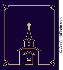 Church Catholic Christian house religion and frame. Vector illustration