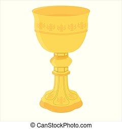 Church chalice vector - Ancient golden chalice vector...
