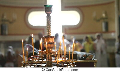 Church chandelier with candles