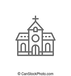 Church, chapel, temple line icon.
