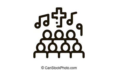 Church Choir Singing Song Concert animated black icon on white background
