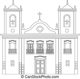 Colonial church outline illustration