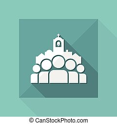 Church community - Vector flat minimal icon