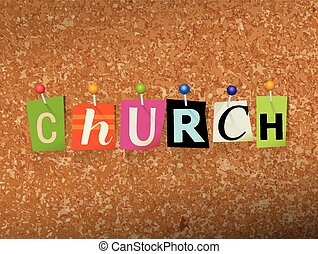 """The word """"CHURCH"""" written in cut letters and pinned to a cork bulletin board illustration. Vector EPS 10 available."""