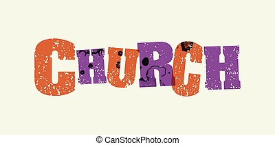 Church Concept Stamped Word Art Illustration