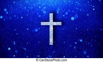Church Cross Christianity Religion Icon White Blinking Glitter Glowing Shine on Blue Particles. Shape, Web, Text , Design, Element, Symbol 4K Loop Animation.