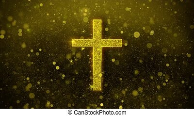Church Cross Christianity Religion Icon Golden Glitter Shine Particles.
