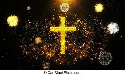 Church Cross Christianity Religion Icon on Firework Display...