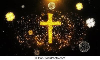 Church Cross Christianity Religion Icon on Firework Display Explosion Particles. Object, Shape, Text, Design, Element, Symbol 4K Animation.