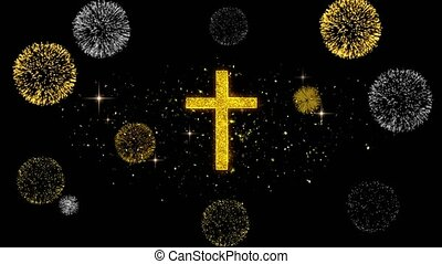 Church Cross Christianity Religion Icon on Glitter Golden Particles Firework.