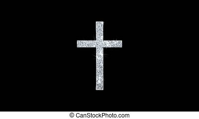 Church Cross Christianity Religion Icon Shining Glitter Loop Blinking Particles .