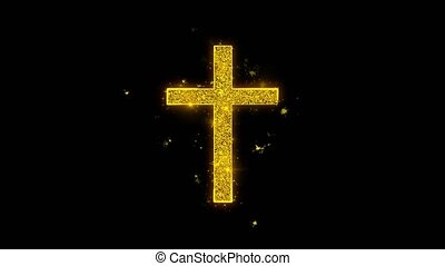 Church Cross Christianity Religion Icon Sparks Particles on...