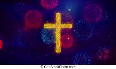 Church Cross Christianity Religion Icon Symbol on Colorful Fireworks Particles.
