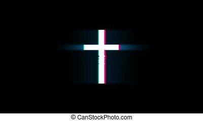 Church Cross Christianity Religion Symbol on Glitch Led Screen Retro Vintage Display Animation 4K Animation Seamless Loop Alpha Channel.