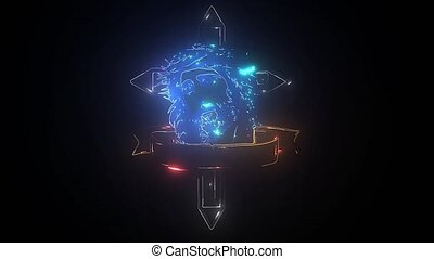 Church cross neon sign. Glowing symbol of the crucifixion. video