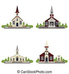 Church Decorative Flat Icon Set