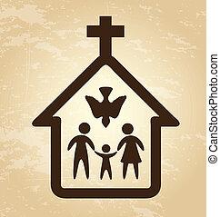 church design over vintage background vector illustration