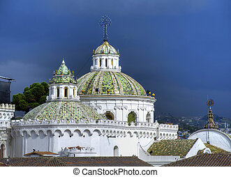 Church domes in downtown Quito