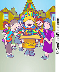 church donation cartoon character kids collecting goods in a...