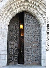 Church Door - Open church door with hanging light