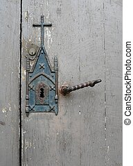 Church Door - Close up of a church door with old latch and...