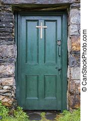 Church Door - Old Green Church door in Balla